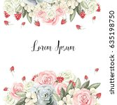 beautiful watercolor card with... | Shutterstock . vector #635198750