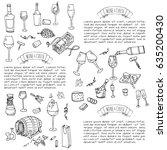 Hand Drawn Wine Set Icons...