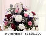 flowers in vases and numbers of ... | Shutterstock . vector #635201300