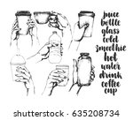 set of hand drawn sketch style... | Shutterstock .eps vector #635208734