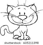 cute cat cartoon   black and... | Shutterstock .eps vector #635211398