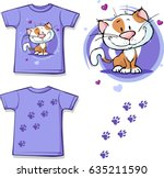 funny shirt with cat   vector... | Shutterstock .eps vector #635211590