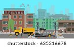 workers repair the road at the... | Shutterstock .eps vector #635216678