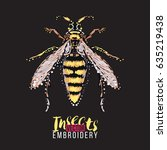 big wasp. embroidery and... | Shutterstock .eps vector #635219438