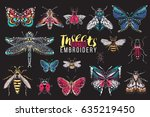 dragonfly  ant  fly  night moth ... | Shutterstock .eps vector #635219450
