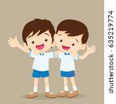 two boys hugging cute best... | Shutterstock .eps vector #635219774