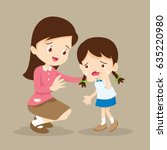 teacher comforting upset... | Shutterstock .eps vector #635220980