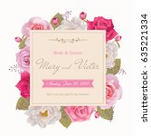 wedding invitation  thank you... | Shutterstock .eps vector #635221334