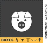 pig icon flat. simple... | Shutterstock . vector #635224073