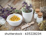 mortar and bowl of dried... | Shutterstock . vector #635228234