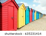 beach huts or colorful bathing... | Shutterstock . vector #635231414