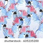 seamless pattern hand painted... | Shutterstock . vector #635235200