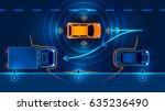 smart car parking assist system ... | Shutterstock .eps vector #635236490