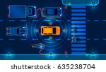 autonomous smart car scans the... | Shutterstock .eps vector #635238704