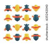 bright vector shield insignias... | Shutterstock .eps vector #635242040