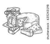 cheese and honey jar vector... | Shutterstock .eps vector #635243198