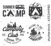 summer camp. vector... | Shutterstock .eps vector #635244980