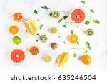 colorful fresh fruit on white...   Shutterstock . vector #635246504