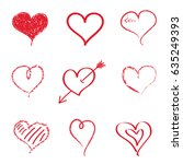 collection of hearts isolated... | Shutterstock .eps vector #635249393