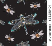 embroidery and rhinestones... | Shutterstock .eps vector #635250404