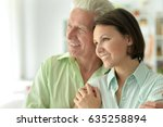 elderly father with an adult... | Shutterstock . vector #635258894
