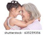 grandmother and little... | Shutterstock . vector #635259356