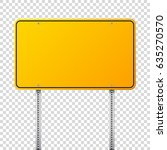 road yellow traffic sign. blank ... | Shutterstock .eps vector #635270570