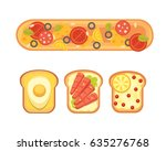 set toasts and sandwich... | Shutterstock .eps vector #635276768