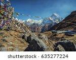 annapurna base camp in nepal  | Shutterstock . vector #635277224