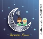 ramadan greeting card with... | Shutterstock .eps vector #635284970