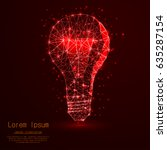 lightbulb with polygon lines on ... | Shutterstock .eps vector #635287154