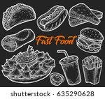 fast food vector hand drawn set ... | Shutterstock .eps vector #635290628
