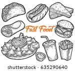 fast food vector hand drawn set ... | Shutterstock .eps vector #635290640