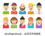 avatar set icons. flat cartoon... | Shutterstock .eps vector #635294888