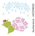 Snails And Hydrangeas. Rain...