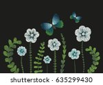 embroidery imitation floral... | Shutterstock .eps vector #635299430
