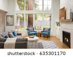 beautiful furnished living room ... | Shutterstock . vector #635301170