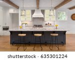 kitchen in new luxury home with ... | Shutterstock . vector #635301224