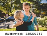 portrait mother and son... | Shutterstock . vector #635301356