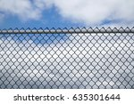 iron chain link fence against...   Shutterstock . vector #635301644