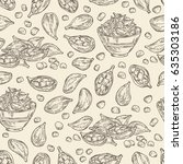 seamless with cardamom  seeds...   Shutterstock .eps vector #635303186