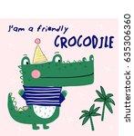 alligator illustration vector... | Shutterstock .eps vector #635306360
