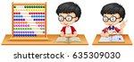 Boy Studying Math Using Abacus...