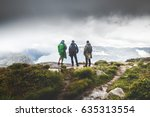 three male hikers staying at... | Shutterstock . vector #635313554