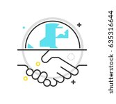 color box hand shake icon ... | Shutterstock .eps vector #635316644