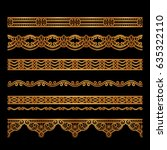 set of vintage gold borders ... | Shutterstock .eps vector #635322110