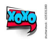 lettering xoxo. comics book...   Shutterstock .eps vector #635331380
