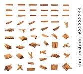 set of multiple cinnamon bark... | Shutterstock . vector #635332244