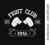 fight club logo. nyc  usa. mma  ... | Shutterstock .eps vector #635335130