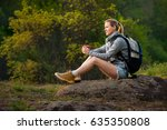 traveler young woman relaxing... | Shutterstock . vector #635350808